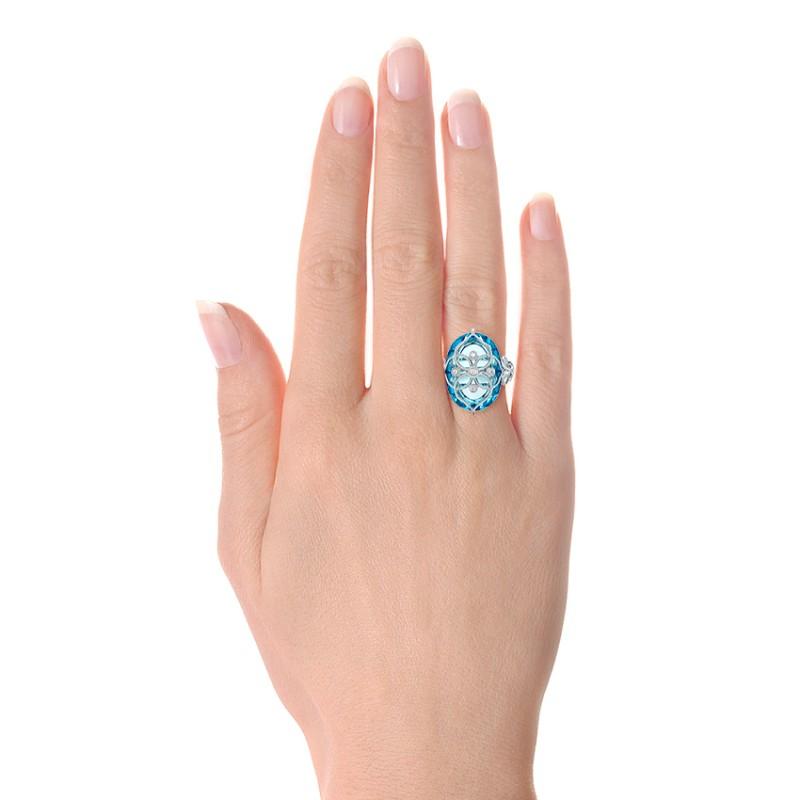 Vintage Filigree Blue Topaz Fashion Ring - Vanna K - Model View