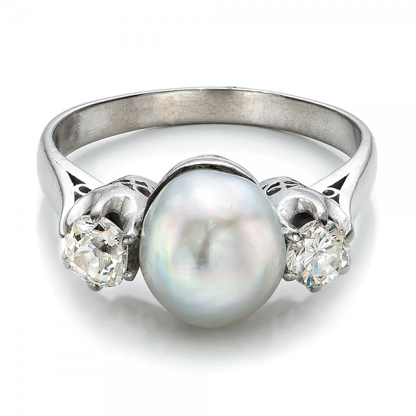White Pearl and Diamond Ring - Flat View -  100765 - Thumbnail