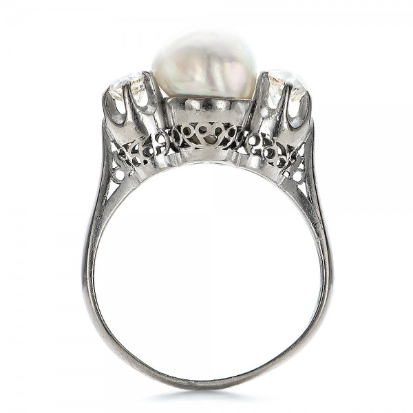 White Pearl and Diamond Ring -  100765