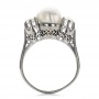 White Pearl And Diamond Ring - Front View -  100765 - Thumbnail
