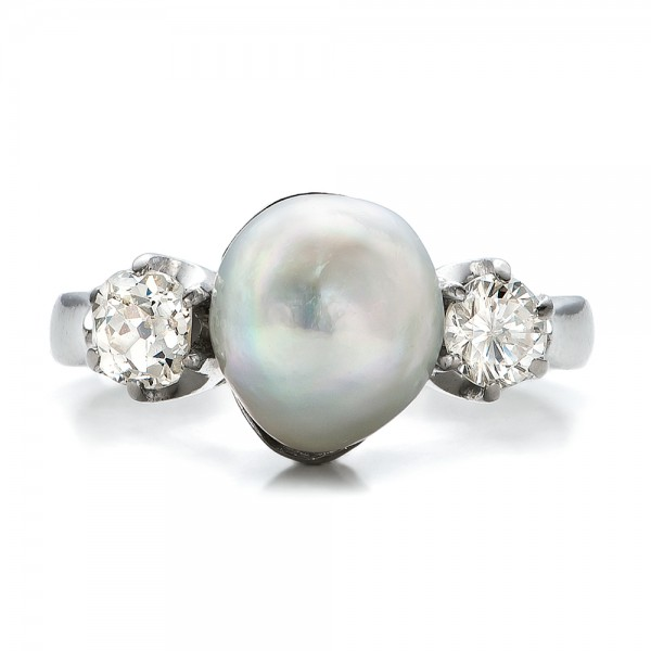 White Pearl and Diamond Ring - Top View -  100765 - Thumbnail