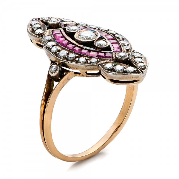 Diamond and Ruby Ring - Three-Quarter View -  100757 - Thumbnail