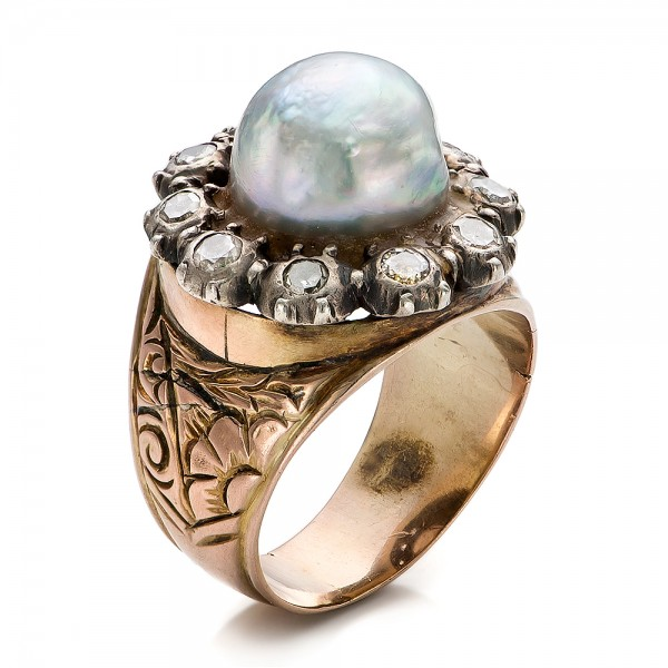 Pearl and Diamond Two-Tone Gold Ring