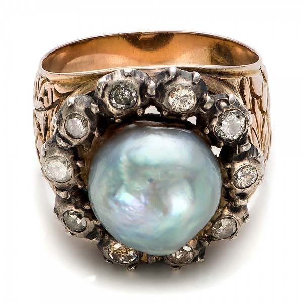 Pearl and Diamond Two-Tone Gold Ring - Laying View