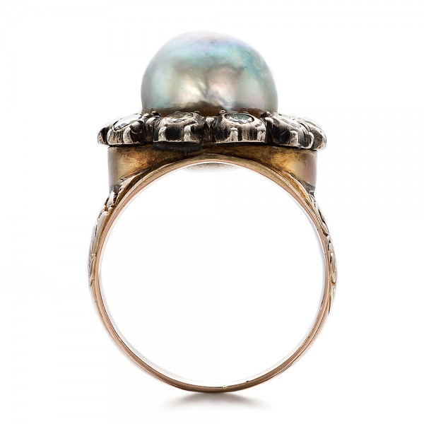 Pearl and Diamond Two-Tone Gold Ring - Finger Through View
