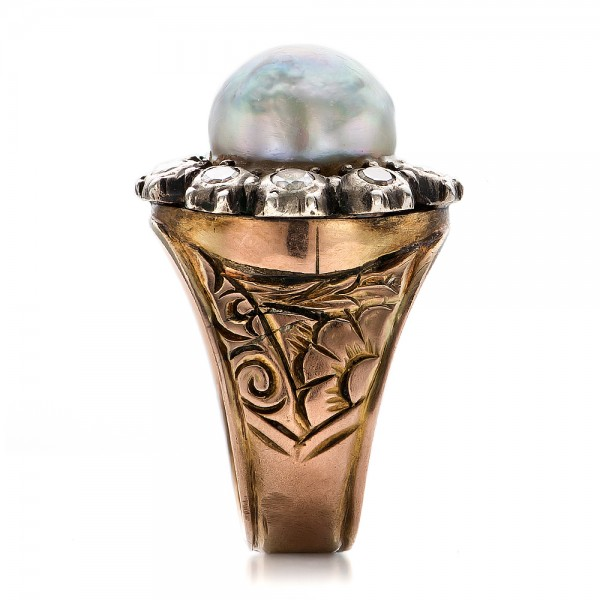 Pearl and Diamond Two-Tone Gold Ring - Side View