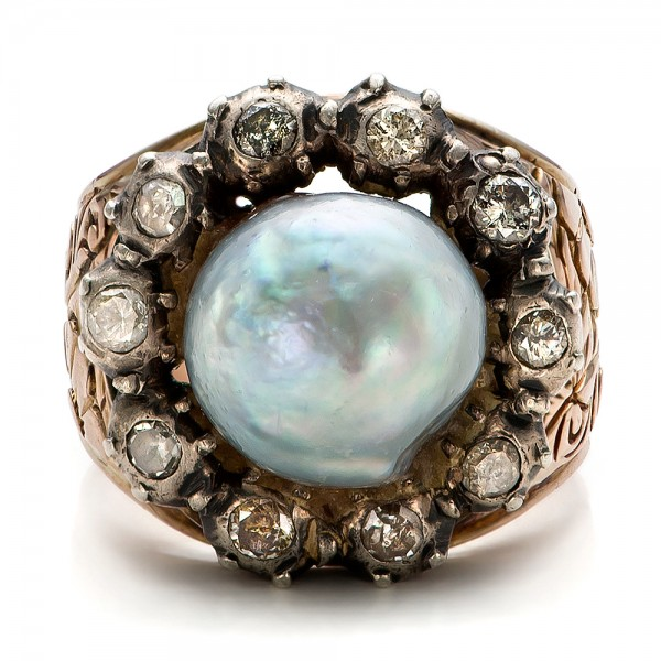 Pearl and Diamond Two-Tone Gold Ring - Top View