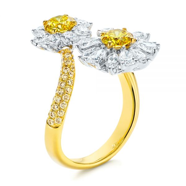 Yellow and White Diamond Floral Fashion Ring - Image