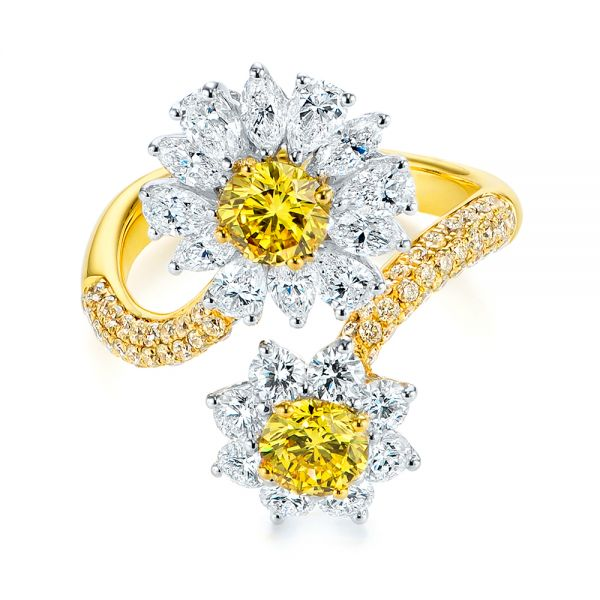 Yellow And White Diamond Floral Fashion Ring - Flat View -