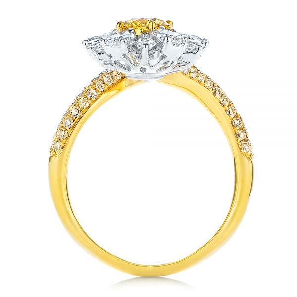 Yellow And White Diamond Floral Fashion Ring - Front View -  105668 - Thumbnail