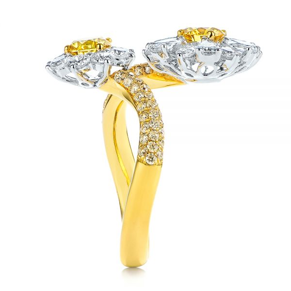 Yellow And White Diamond Floral Fashion Ring - Side View -  105668 - Thumbnail