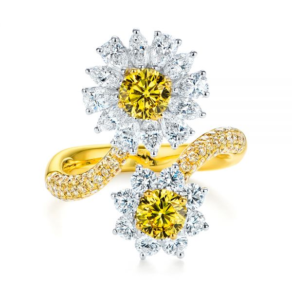 Yellow And White Diamond Floral Fashion Ring - Top View -  105668 - Thumbnail