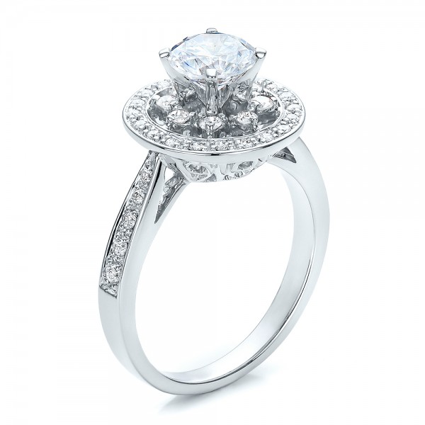 Diamond Halo and Filigree Engagement Ring - Vanna K