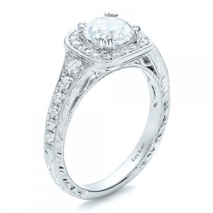 Hand Engraved Diamond Engagement Ring - Kirk Kara