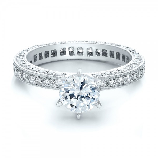 Six Prong Set Diamond Engagement Ring - Vanna K