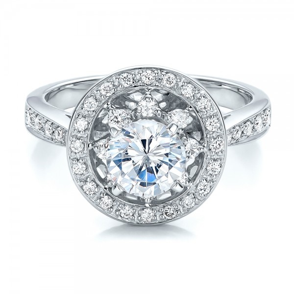 Diamond Halo and Filigree Engagement Ring - Vanna K - Laying View