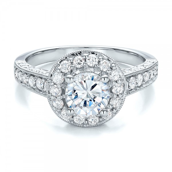 Diamond Halo and Filigree Engagement Ring - Vanna K