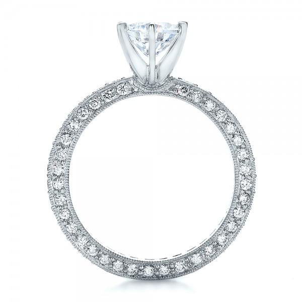 Six Prong Set Diamond Engagement Ring - Vanna K - Finger Through View
