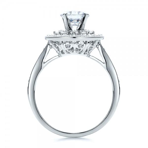 Diamond Halo and Filigree Engagement Ring - Vanna K - Finger Through View