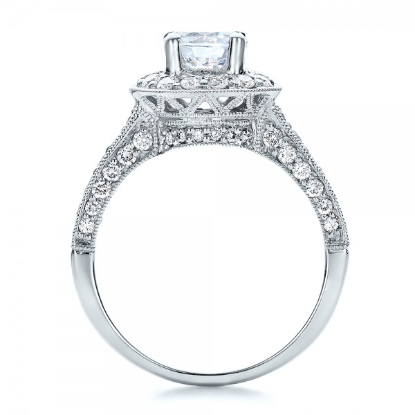 Diamond Halo and Filigree Engagement Ring - Vanna K - Finger Through View