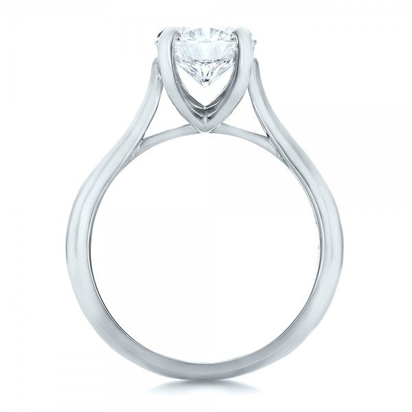Custom Solitaire Engagment Ring - Finger Through View