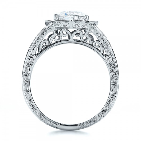 Custom Diamond Halo and Hand Engraved Engagement Ring - Finger Through View