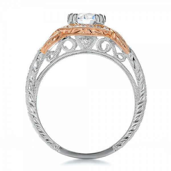 Two-Tone Gold, Diamond and Hand Engraved Engagement Ring - Kirk Kara - Finger Through View
