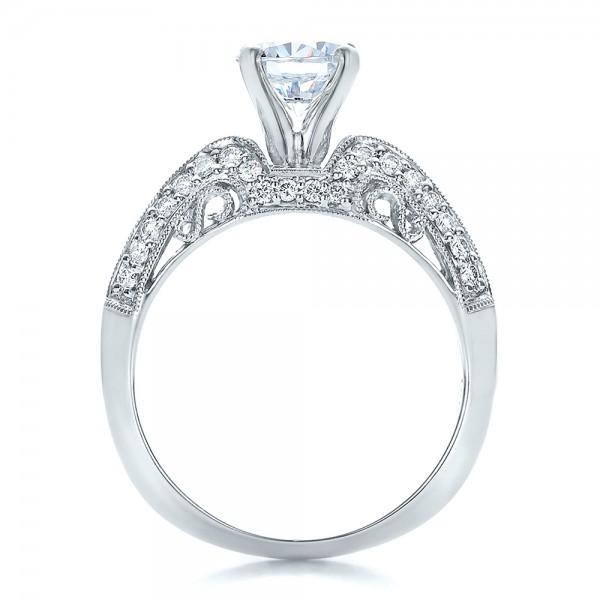 Diamond Filigree Engagement Ring - Vanna K - Finger Through View