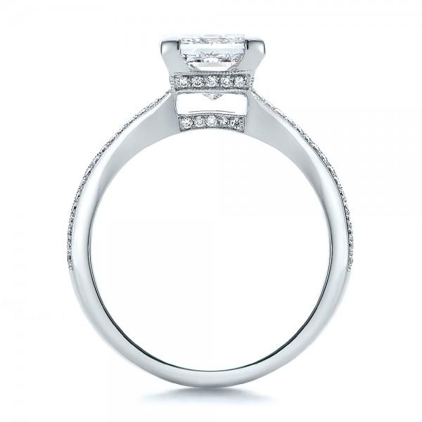 Custom Princess Cut Diamond and Split Shank Engagement Ring - Finger Through View