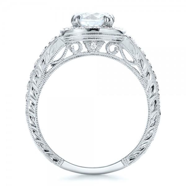 Hand Engraved Diamond Engagement Ring - Kirk Kara - Finger Through View