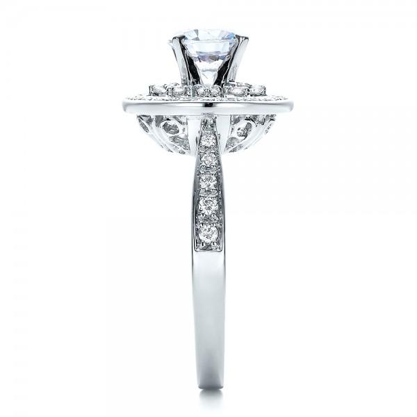 Diamond Halo and Filigree Engagement Ring - Vanna K - Side View