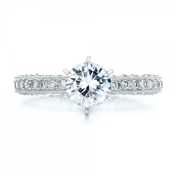 Six Prong Set Diamond Engagement Ring - Vanna K - Top View