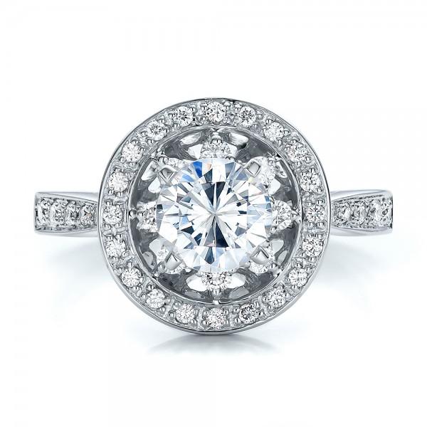 Diamond Halo and Filigree Engagement Ring - Vanna K - Top View