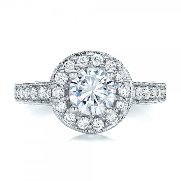 Diamond Halo and Filigree Engagement Ring - Vanna K - Top View