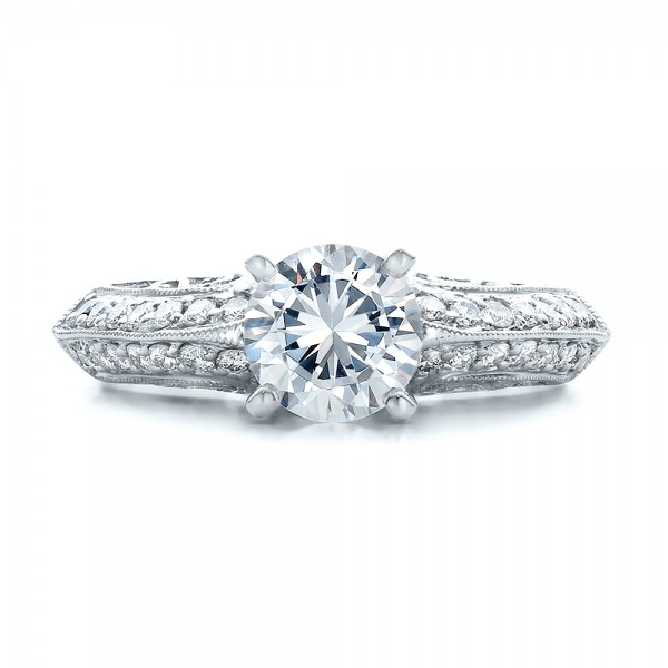 Diamond Filigree Engagement Ring - Vanna K - Top View