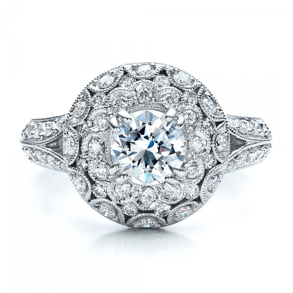 Diamond Halo Engagement Ring - Vanna K - Top View