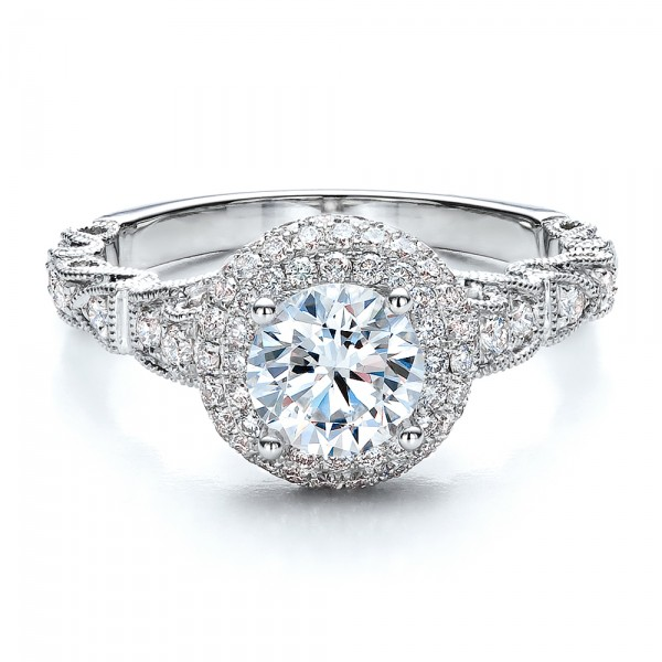 Antique Milgrain Engagement Ring - Vanna K