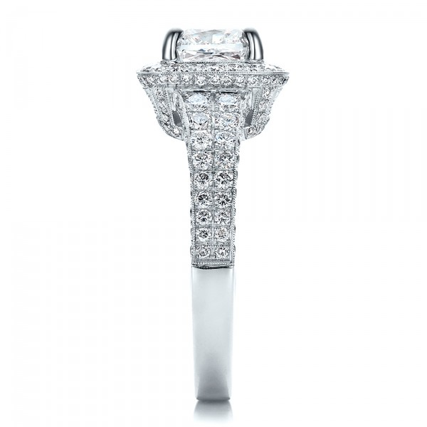Custom Diamond Halo Engagement Ring - Side View