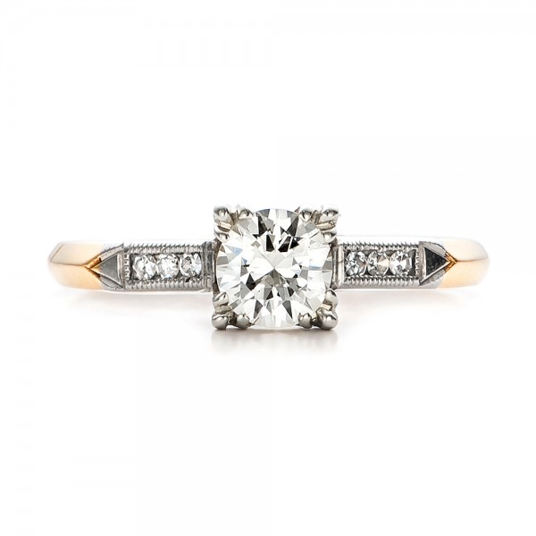 Estate Two-Tone Gold Diamond Engagement Ring - Top View