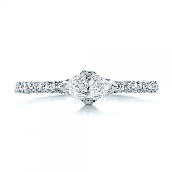 Custom Marquise Diamond Engagement Ring - Top View