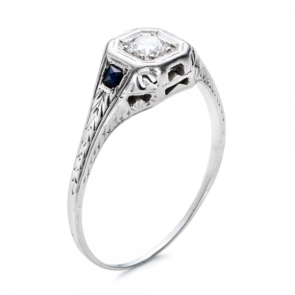 estate diamond and sapphire art deco engagement ring - Art Deco Wedding Ring