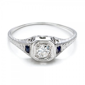Estate Diamond and Sapphire Art Deco Engagement Ring