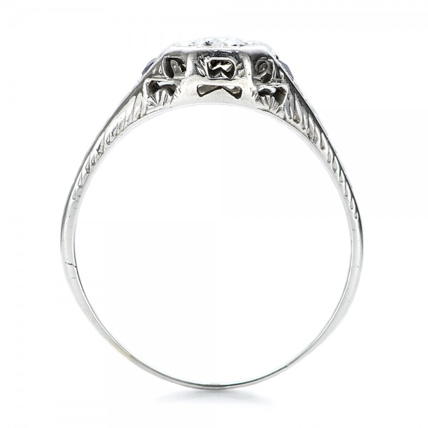Estate Diamond and Sapphire Art Deco Engagement Ring - Finger Through View