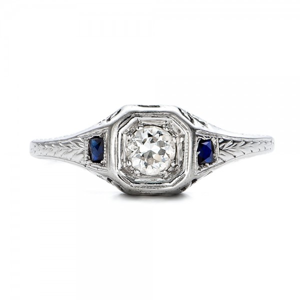 Estate Diamond and Sapphire Art Deco Engagement Ring - Top View