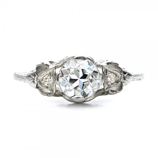 estate diamond art deco engagement ring top view - Art Deco Wedding Ring