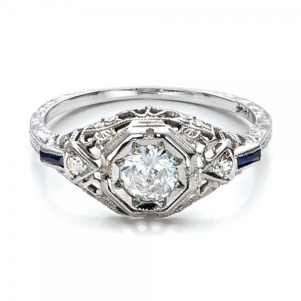 Estate Diamond and Sapphire Art Deco Engagement Ring ...