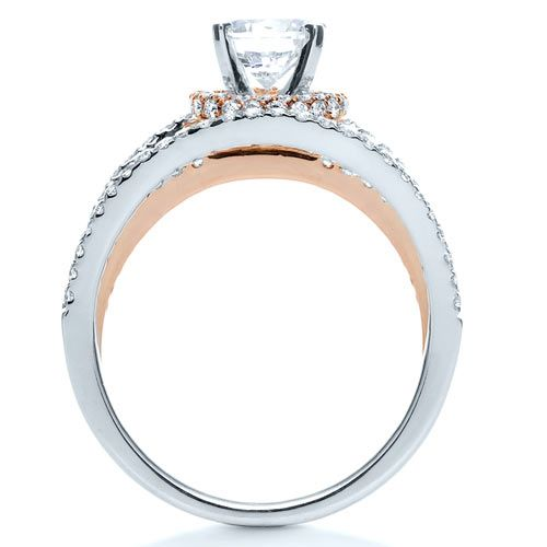 14K Gold And 18k Rose Gold 14K Gold And 18k Rose Gold White and Diamond Ring - Vanna K - Front View -