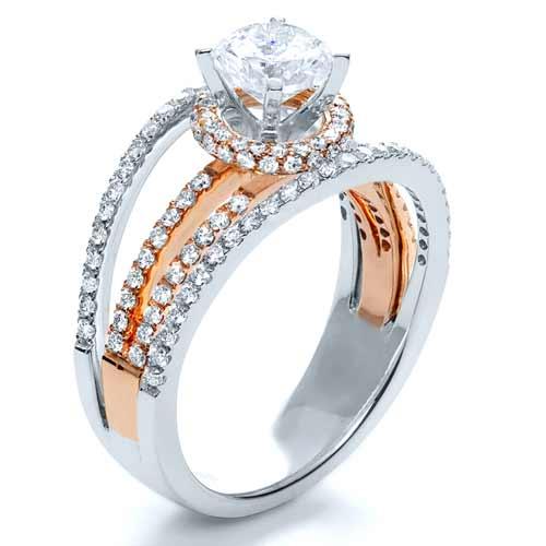 18k White & Rose Gold Diamond Ring - Vanna K - Finger Through View