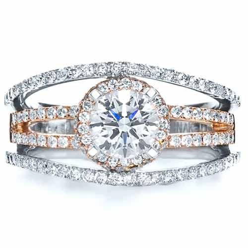 18k White & Rose Gold Diamond Ring - Vanna K - Top View