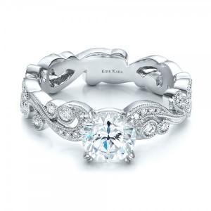Filigree and Diamond Engagement Ring - Kirk Kara